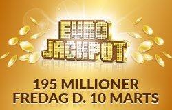 Eurojackpot fredag d. 10 marts