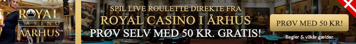 Få 50 kr. til Live Roulette hos RoyalCasino
